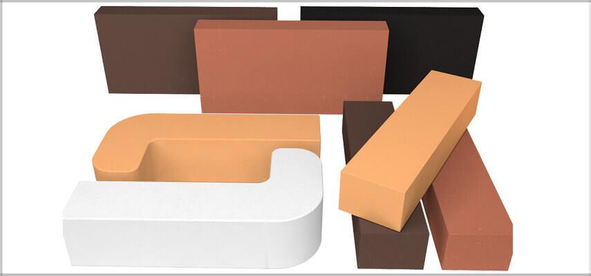 Kolorowe cegły szamotowe